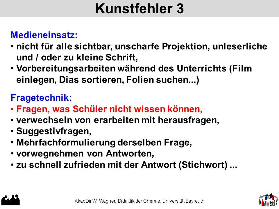 Kunstfehler 3 AkadDir W. Wagner, Didaktik der Chemie, Universität Bayreuth Medieneinsatz: nicht für alle sichtbar, unscharfe Projektion, unleserliche
