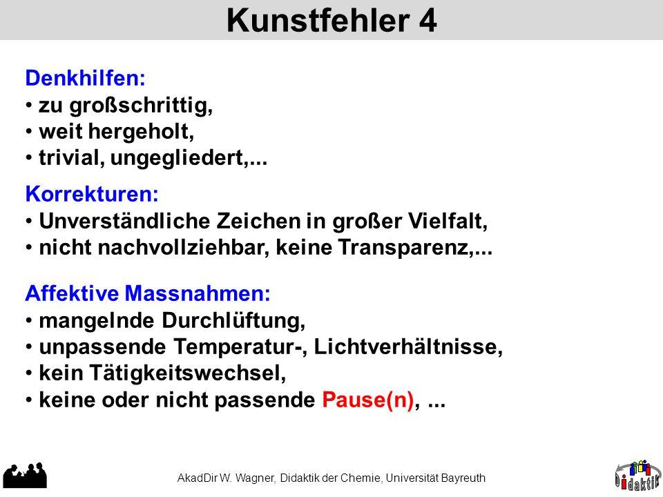 Kunstfehler 4 AkadDir W. Wagner, Didaktik der Chemie, Universität Bayreuth Denkhilfen: zu großschrittig, weit hergeholt, trivial, ungegliedert,... Kor
