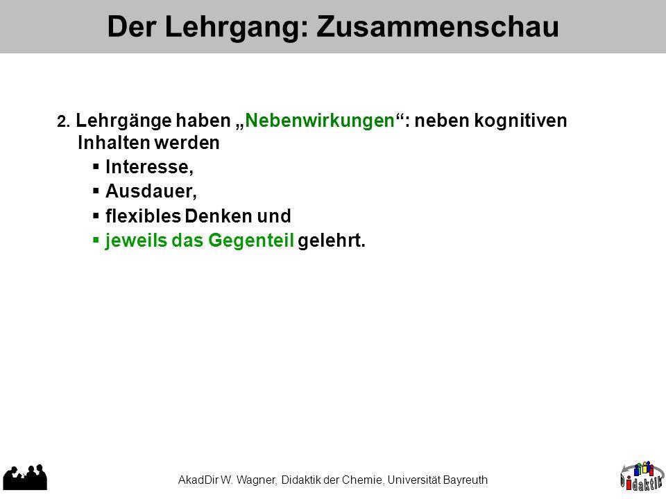 AkadDir W. Wagner, Didaktik der Chemie, Universität Bayreuth Der Lehrgang: Zusammenschau 1.Der Erfolg eines Lehrgangstyps hängt nicht nur von der Leis