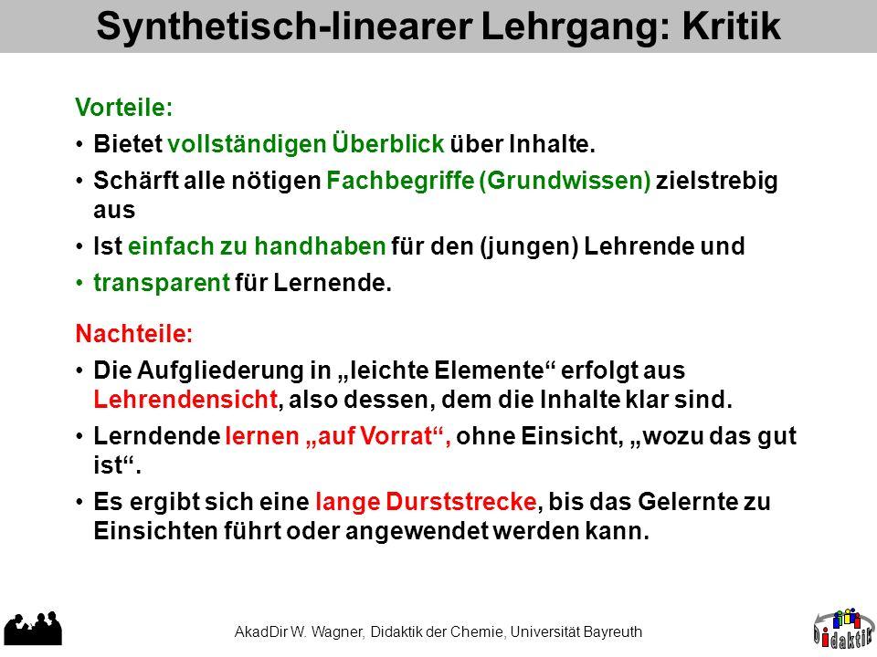 Synthetisch-linearer Lehrgang: Kritik Vorteile: Bietet vollständigen Überblick über Inhalte. Schärft alle nötigen Fachbegriffe (Grundwissen) zielstreb