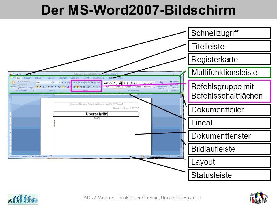 Der MS-Word2007-Bildschirm Titelleiste Registerkarte Lineal Dokumentfenster Bildlaufleiste Statusleiste AD W.