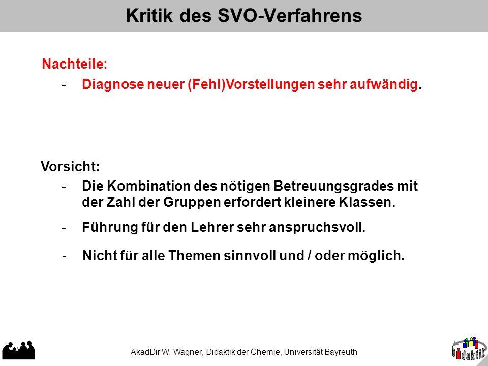 AkadDir W. Wagner, Didaktik der Chemie, Universität Bayreuth Kritik des SVO-Verfahrens Nachteile: - Diagnose neuer (Fehl)Vorstellungen sehr aufwändig.
