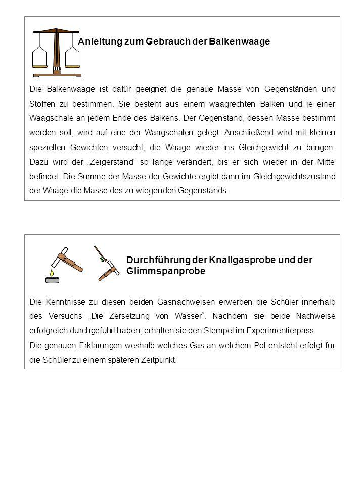 Anleitung zum Gebrauch der Balkenwaage Die Balkenwaage ist dafür geeignet die genaue Masse von Gegenständen und Stoffen zu bestimmen.
