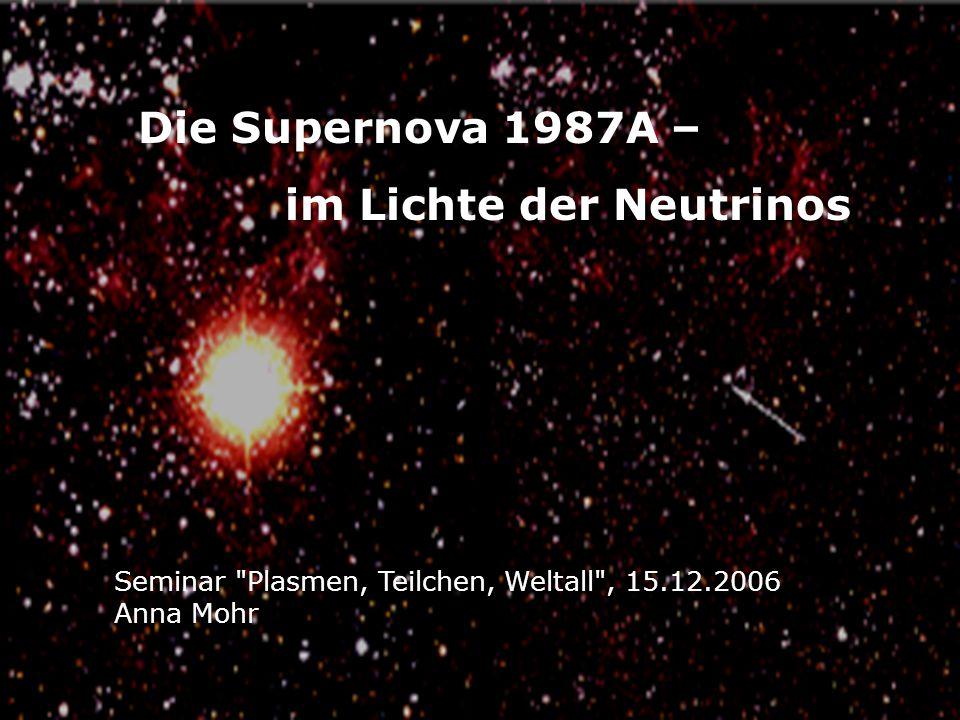 Die Supernova 1987A – im Lichte der Neutrinos Seminar Plasmen, Teilchen, Weltall , 15.12.2006 Anna Mohr