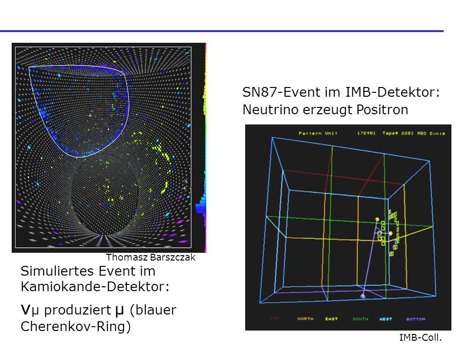 Simuliertes Event im Kamiokande-Detektor: ν μ produziert μ (blauer Cherenkov-Ring) Thomasz Barszczak SN87-Event im IMB-Detektor: Neutrino erzeugt Positron IMB-Coll.