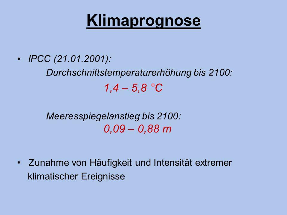 Klimaprognose IPCC (21.01.2001): Durchschnittstemperaturerhöhung bis 2100: 1,4 – 5,8 °C Meeresspiegelanstieg bis 2100: 0,09 – 0,88 m Zunahme von Häufi