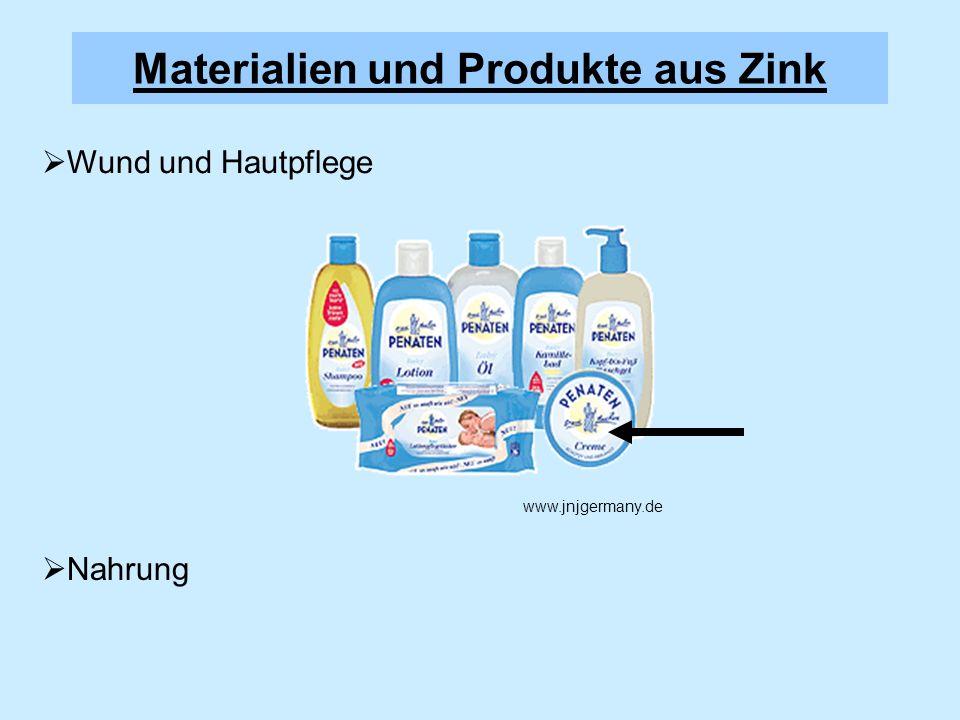 Wund und Hautpflege Nahrung Materialien und Produkte aus Zink www.jnjgermany.de