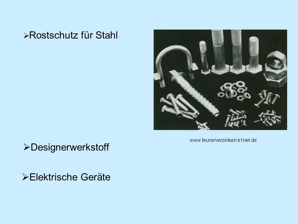 Rostschutz für Stahl Designerwerkstoff Elektrische Geräte www.feurerverzinken.k1net.de