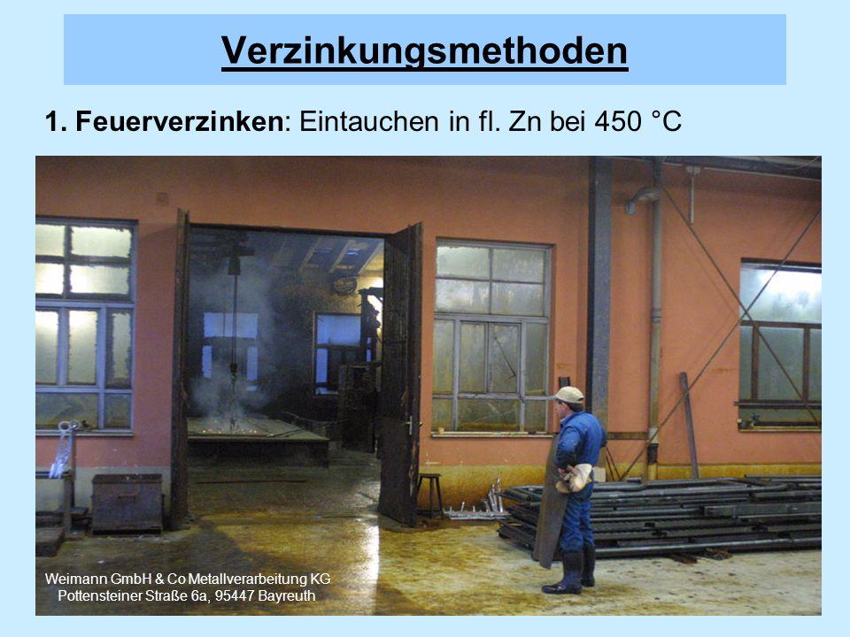 1. Feuerverzinken: Eintauchen in fl. Zn bei 450 °C Verzinkungsmethoden Weimann GmbH & Co Metallverarbeitung KG Pottensteiner Straße 6a, 95447 Bayreuth