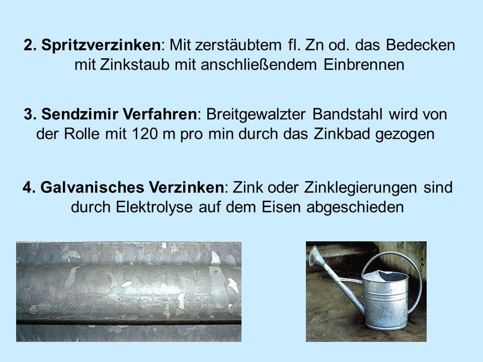 3. Sendzimir Verfahren: Breitgewalzter Bandstahl wird von der Rolle mit 120 m pro min durch das Zinkbad gezogen 4. Galvanisches Verzinken: Zink oder Z