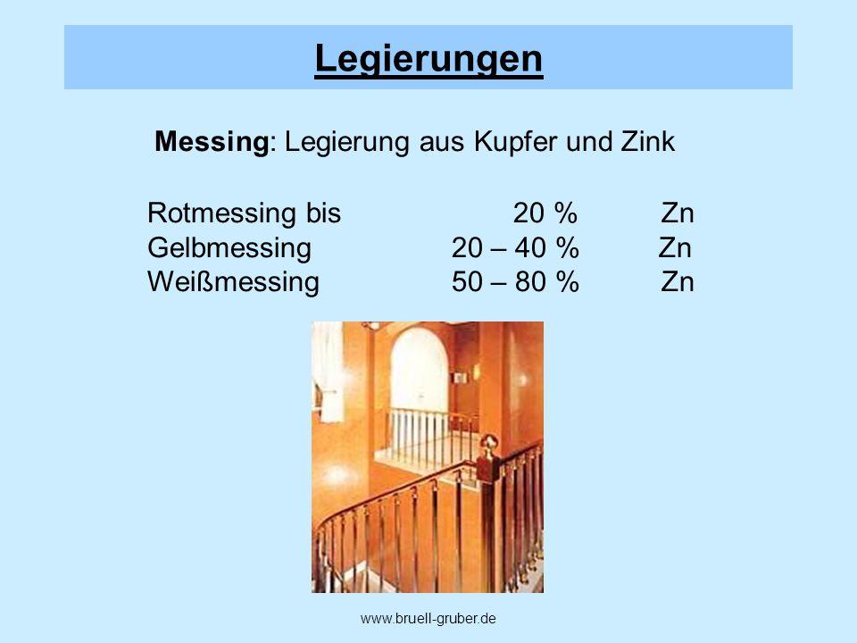 Messing: Legierung aus Kupfer und Zink Rotmessing bis 20 %Zn Gelbmessing 20 – 40 % Zn Weißmessing 50 – 80 %Zn www.bruell-gruber.de Legierungen