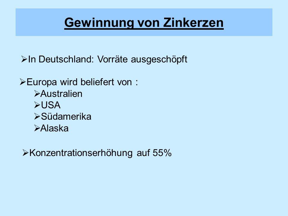 Vorkommen in der Erdkruste: Zinksulfid (ZnS) Zinkblende Wurtzit Zinkspat (ZnCO 3 ) Zinkdarstellung www.seilnacht.tuttlingen.com