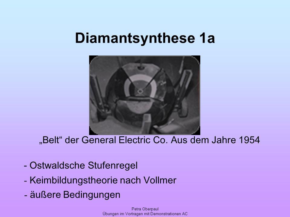 Petra Oberpaul Übungen im Vortragen mit Demonstrationen AC Diamantsynthese 1a - Keimbildungstheorie nach Vollmer - äußere Bedingungen Belt der General