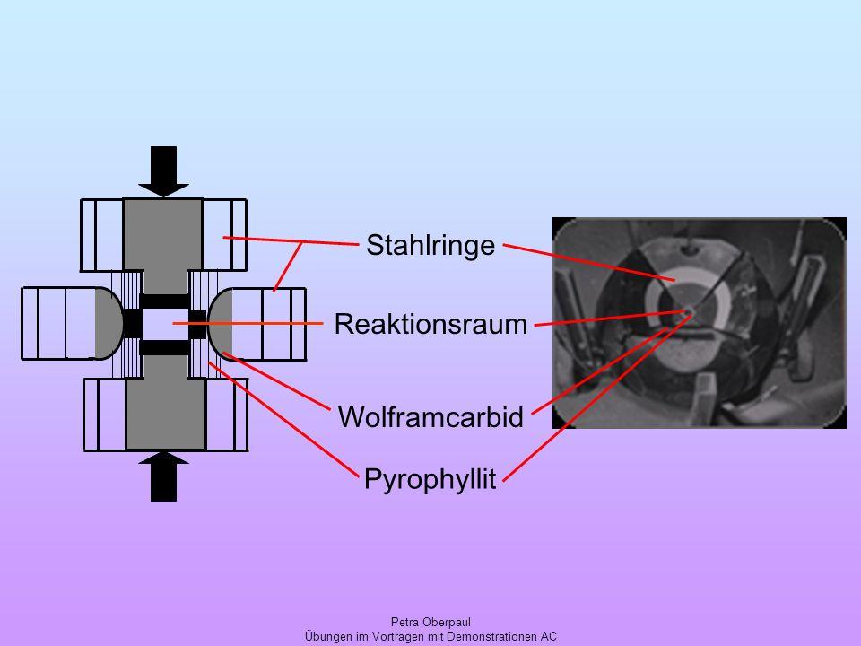 Petra Oberpaul Übungen im Vortragen mit Demonstrationen AC Reaktionsraum Stahlringe Wolframcarbid Pyrophyllit