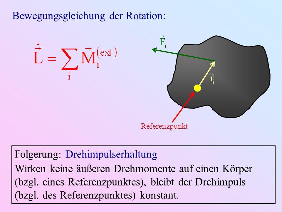Referenzpunkt Bewegungsgleichung der Rotation: Folgerung: Drehimpulserhaltung Wirken keine äußeren Drehmomente auf einen Körper (bzgl. eines Referenzp