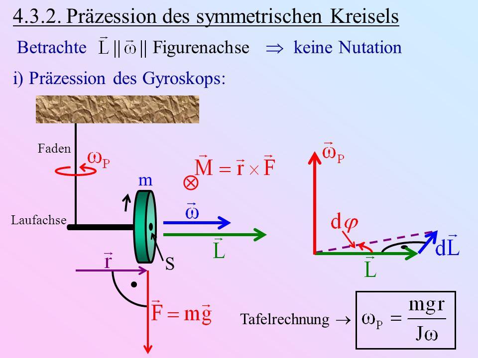 4.3.2. Präzession des symmetrischen Kreisels Betrachte Figurenachse keine Nutation i) Präzession des Gyroskops: Faden Laufachse m S Tafelrechnung