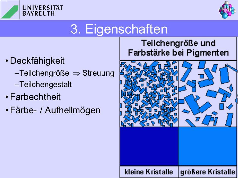 Deckfähigkeit –Teilchengröße Streuung –Teilchengestalt Farbechtheit Färbe- / Aufhellmögen 3. Eigenschaften