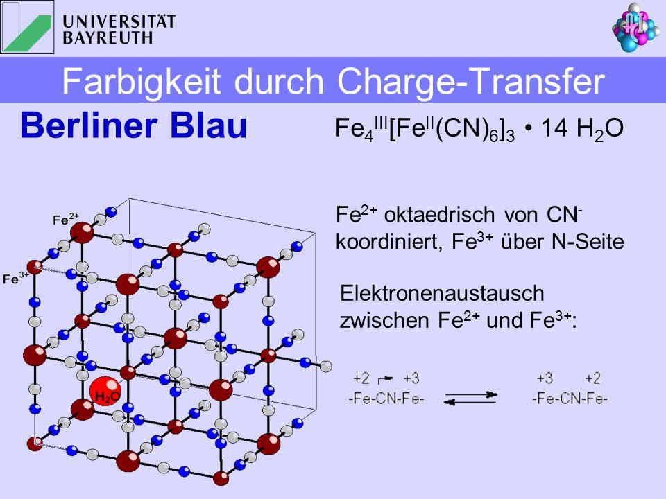 Berliner Blau Fe 4 III [Fe II (CN) 6 ] 3 14 H 2 O Fe 2+ oktaedrisch von CN - koordiniert, Fe 3+ über N-Seite Elektronenaustausch zwischen Fe 2+ und Fe