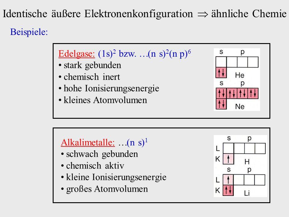 Identische äußere Elektronenkonfiguration ähnliche Chemie Beispiele: Edelgase: (1s) 2 bzw. (n s) 2 (n p) 6 stark gebunden chemisch inert hohe Ionisier