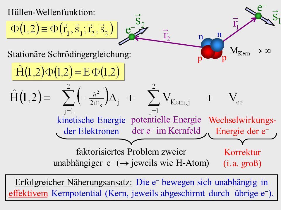 Hüllen-Wellenfunktion: Stationäre Schrödingergleichung: e e n n p p M Kern kinetische Energie der Elektronen potentielle Energie der e im Kernfeld Wechselwirkungs- Energie der e faktorisiertes Problem zweier unabhängiger e ( jeweils wie H-Atom) Korrektur (i.