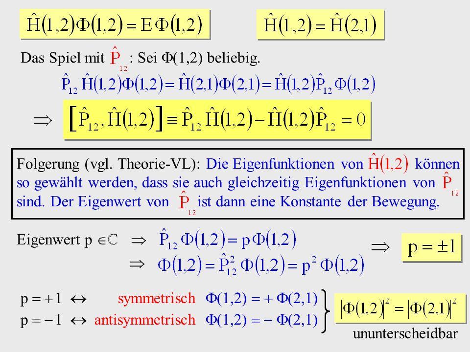 Das Spiel mit : Sei beliebig. Eigenwert p p 1 symmetrisch p 1 antisymmetrisch ununterscheidbar Folgerung (vgl. Theorie-VL): Die Eigenfunktionen von kö
