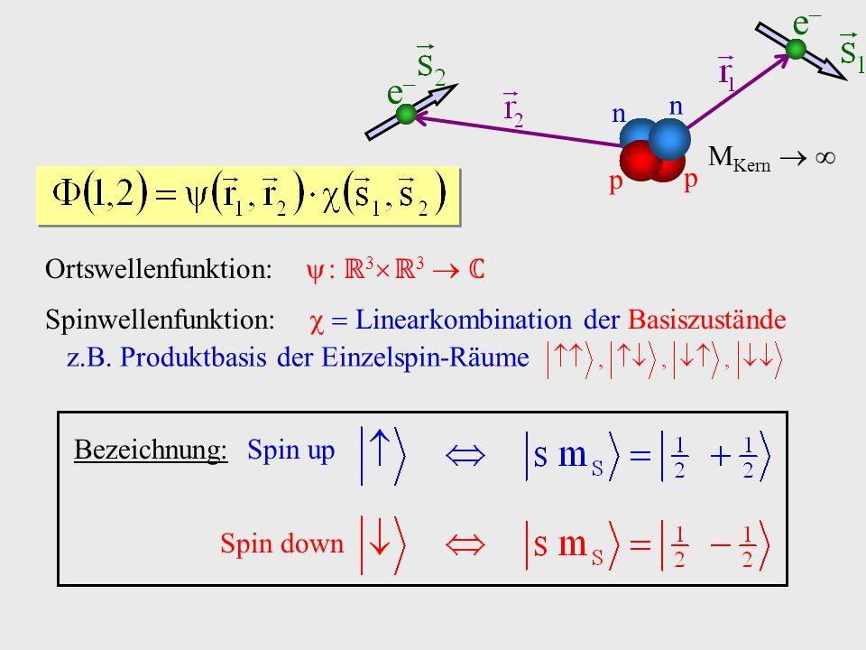 Ortswellenfunktion: : 3 3 Spinwellenfunktion: Linearkombination der Basiszustände z.B. Produktbasis der Einzelspin-Räume Bezeichnung:Spin up Spin down