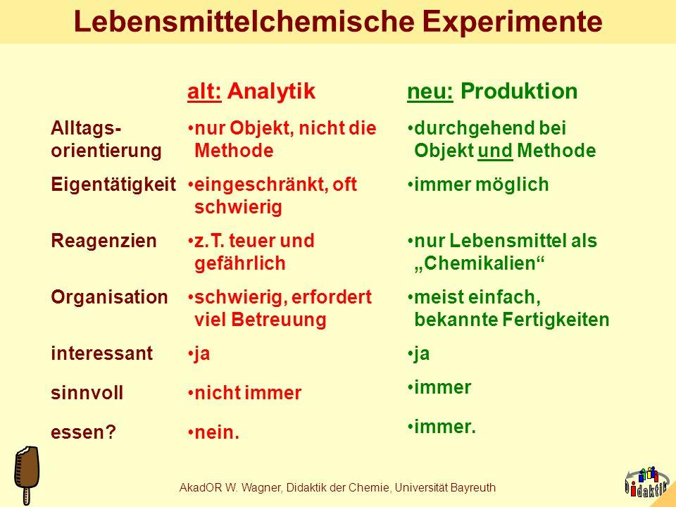 AkadOR W. Wagner, Didaktik der Chemie, Universität Bayreuth Schüler sagen: 1.Endlich machen wir `mal etwas sinnvolles. 2.Fein, dass man das auch essen