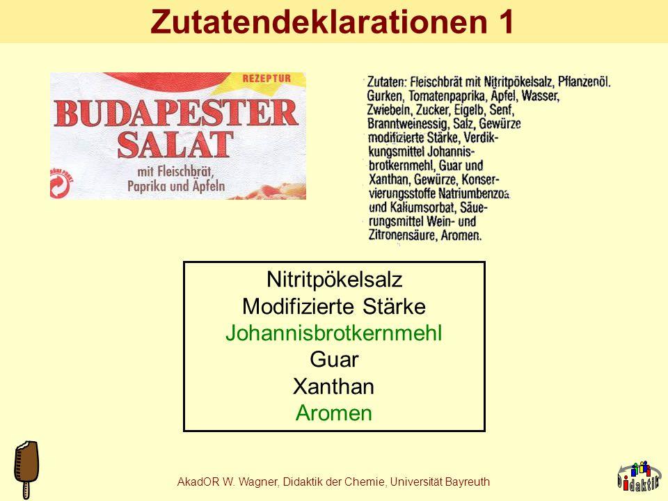 AkadOR W. Wagner, Didaktik der Chemie, Universität Bayreuth Projekt Bier MalzschrotBrauwasser Vorderwürze +T TreberNachguss Treber Hopfen Protein, Öle