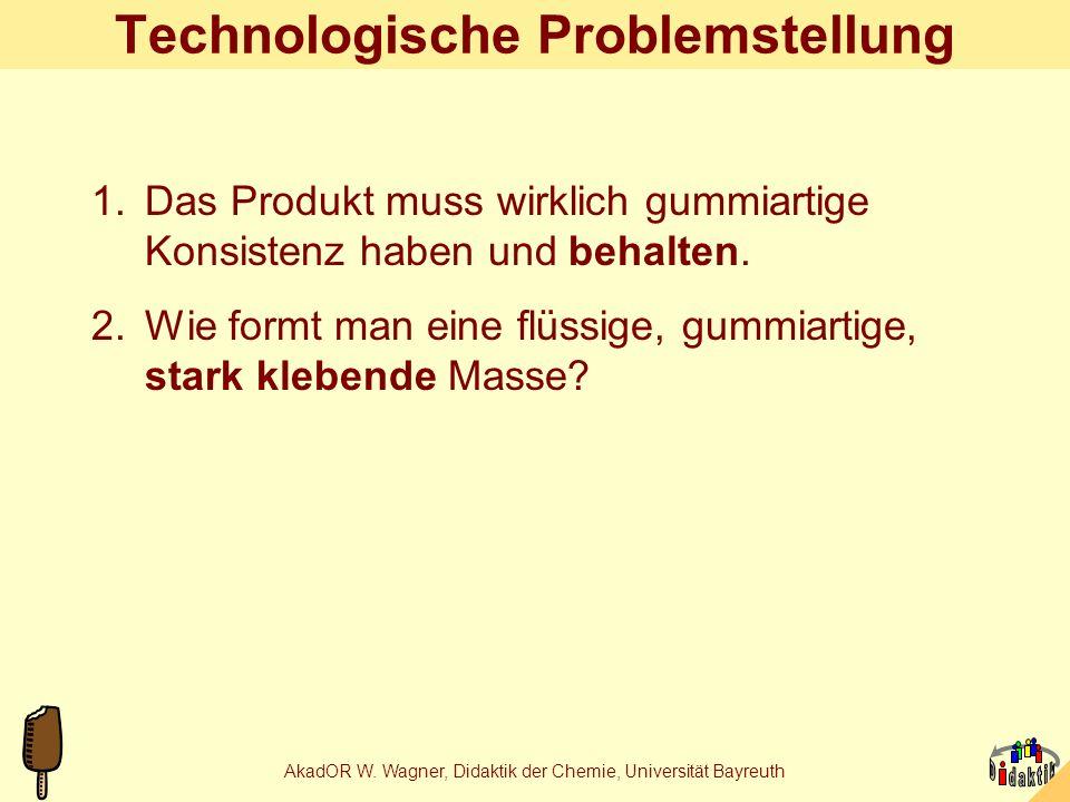 AkadOR W. Wagner, Didaktik der Chemie, Universität Bayreuth Fruchtgummiproduktion nach Altersstufen Schr.Aktivität9a13a17a 1.Zutaten abwiegen.-++ 2.In