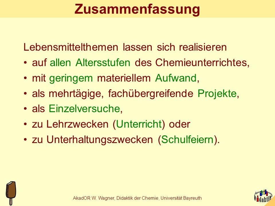 AkadOR W. Wagner, Didaktik der Chemie, Universität Bayreuth Gummibären-Forschungsthemen Universität Bonn, Psychologisches Institut: Einfluss der Tüten