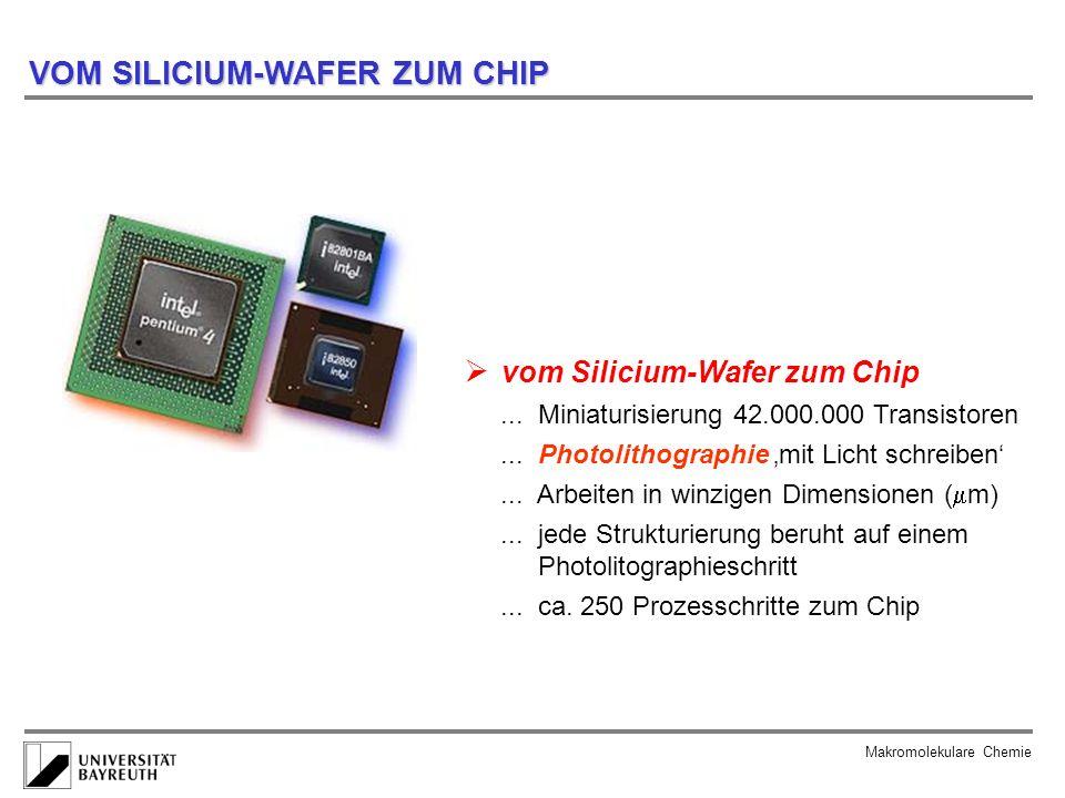 Makromolekulare Chemie VOM SILICIUM-WAFER ZUM CHIP vom Silicium-Wafer zum Chip... Miniaturisierung 42.000.000 Transistoren... Photolithographie mit Li