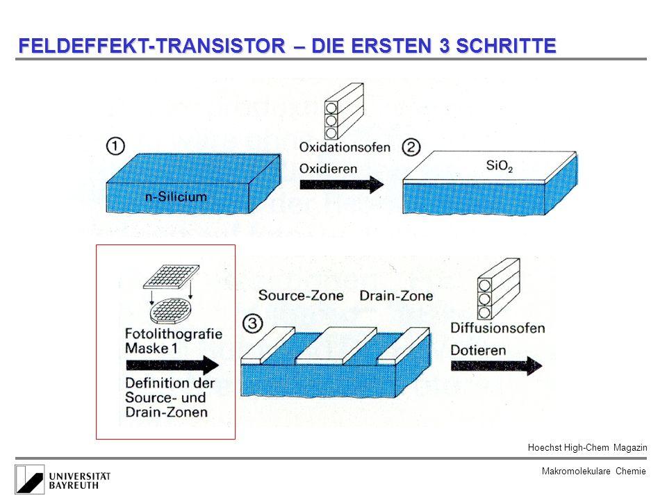 FELDEFFEKT-TRANSISTOR – DIE ERSTEN 3 SCHRITTE Makromolekulare Chemie Hoechst High-Chem Magazin