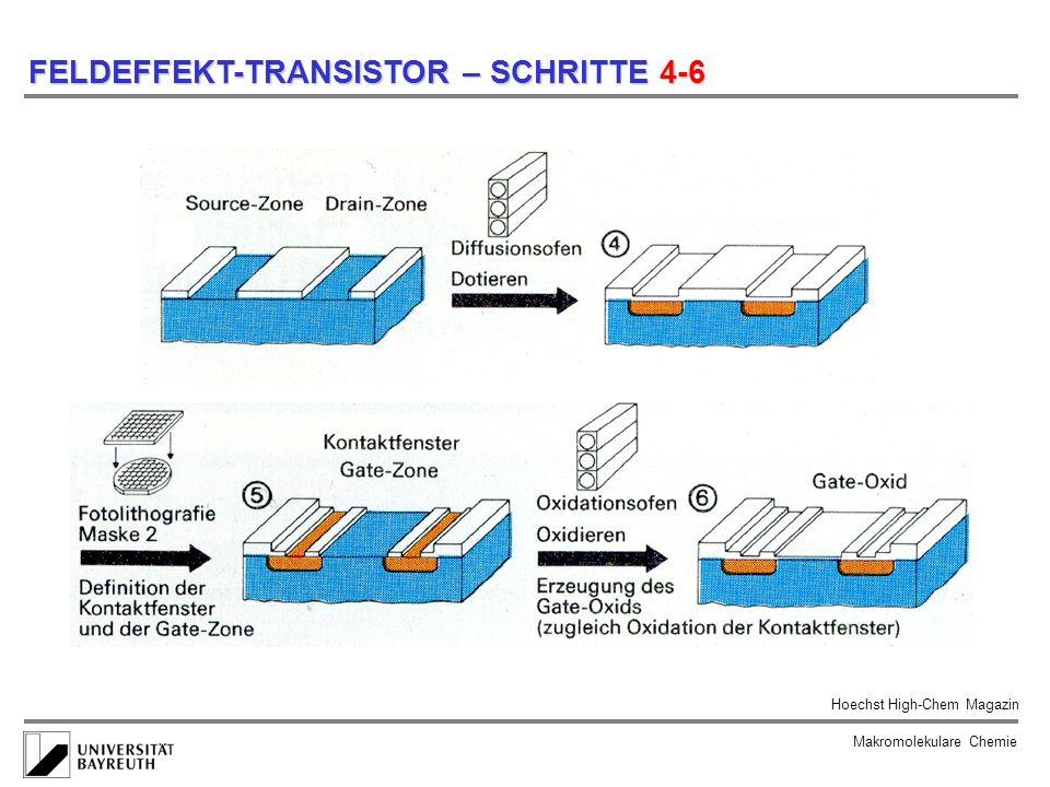 Makromolekulare Chemie FELDEFFEKT-TRANSISTOR – SCHRITTE 4-6 Hoechst High-Chem Magazin