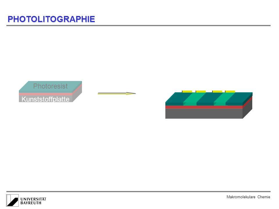 Natronlauge Aceton HCl/H 2 O 2 Makromolekulare Chemie löslich unlöslich PHOTOLITOGRAPHIE