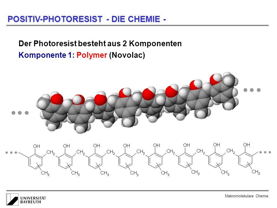 Makromolekulare Chemie POSITIV-PHOTORESIST - DIE CHEMIE Komponente 2: Photoaktives Material Molekül I UV-Licht Molekül II unpolarpolar in Natronlauge unlöslichin Natronlauge löslich