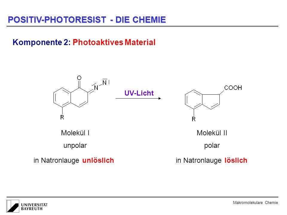 Makromolekulare Chemie POSITIV-PHOTORESIST - DIE CHEMIE Komponente 2: Photoaktives Material Molekül I UV-Licht Molekül II unpolarpolar in Natronlauge
