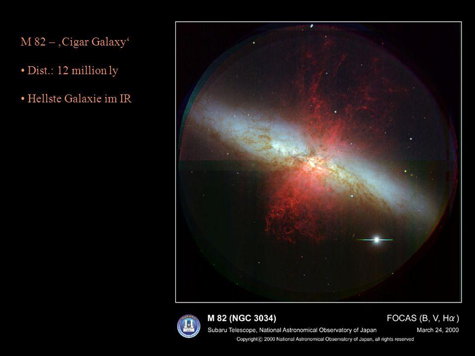 M 82 – Cigar Galaxy Dist.: 12 million ly Hellste Galaxie im IR