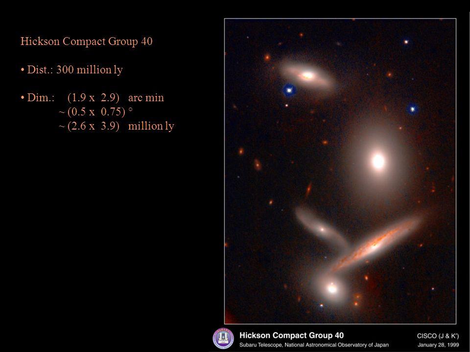Hickson Compact Group 40 Dist.: 300 million ly Dim.: (1.9 x 2.9) arc min ~(0.5 x 0.75) ° ~(2.6 x 3.9) million ly