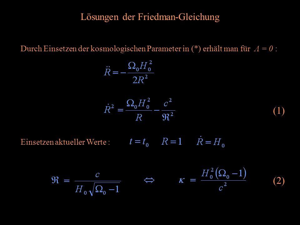 Lösungen der Friedman-Gleichung Einsetzen aktueller Werte : Durch Einsetzen der kosmologischen Parameter in (*) erhält man für Λ = 0 : (1) (2)