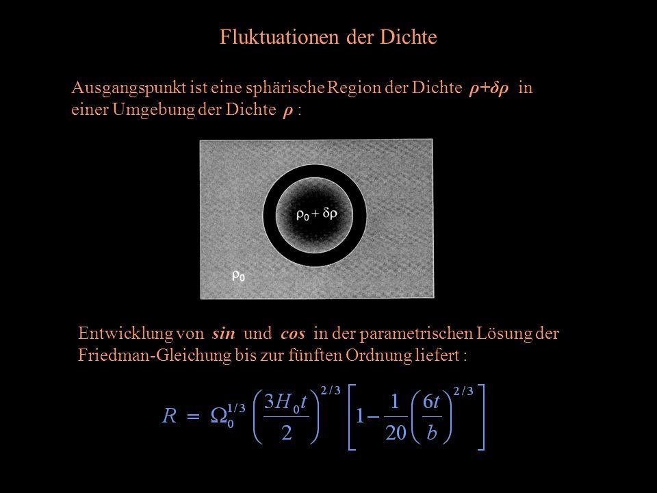Fluktuationen der Dichte Ausgangspunkt ist eine sphärische Region der Dichte ρ+δρ in einer Umgebung der Dichte ρ : Entwicklung von sin und cos in der