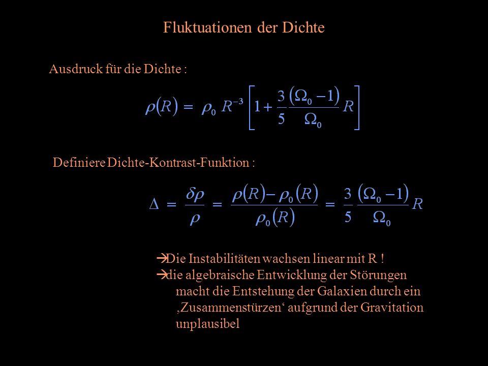 Fluktuationen der Dichte Ausdruck für die Dichte : Definiere Dichte-Kontrast-Funktion : Die Instabilitäten wachsen linear mit R ! die algebraische Ent
