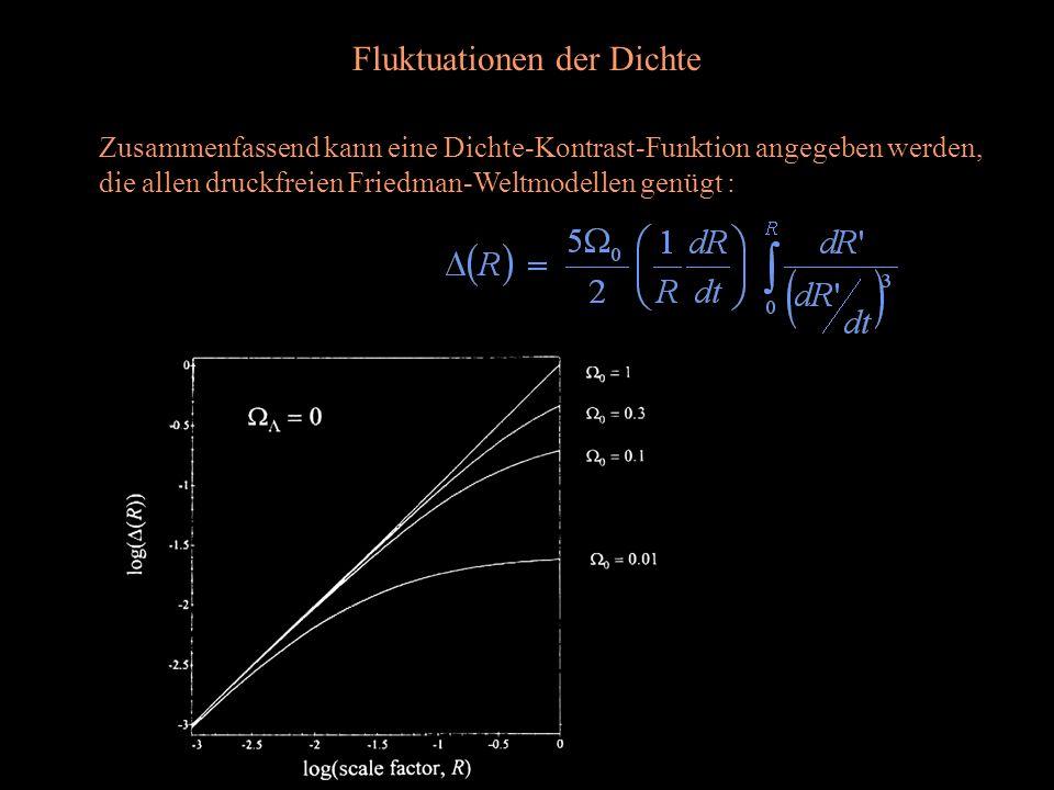 Fluktuationen der Dichte Zusammenfassend kann eine Dichte-Kontrast-Funktion angegeben werden, die allen druckfreien Friedman-Weltmodellen genügt :