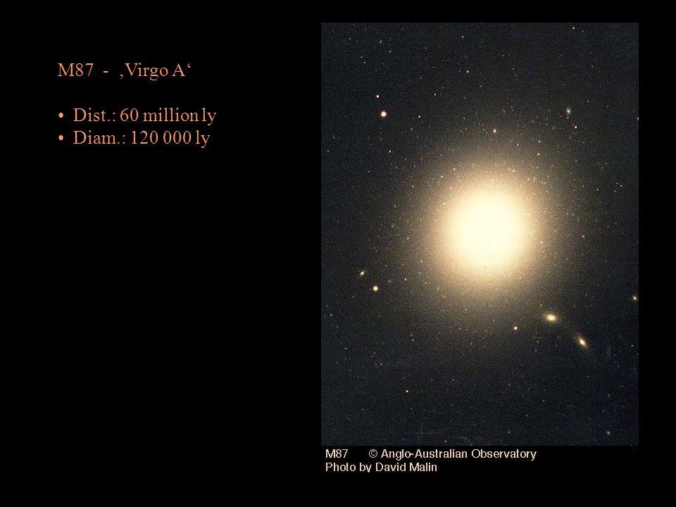 M87 - Virgo A Dist.: 60 million ly Diam.: 120 000 ly
