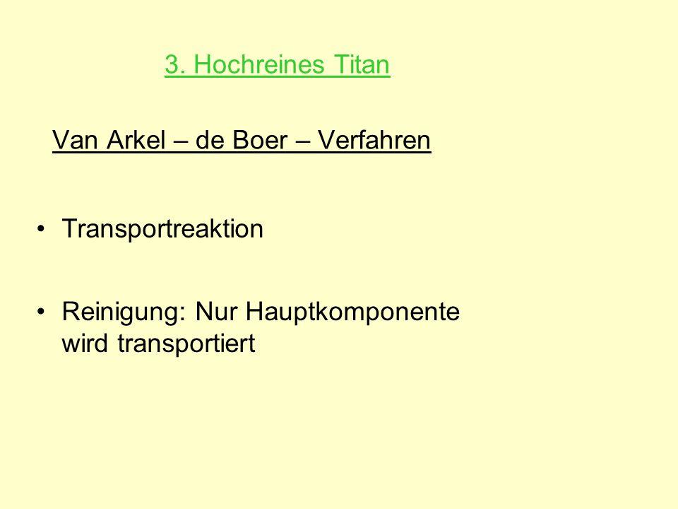 Van Arkel – de Boer – Verfahren Reinigung: Nur Hauptkomponente wird transportiert Transportreaktion 3. Hochreines Titan
