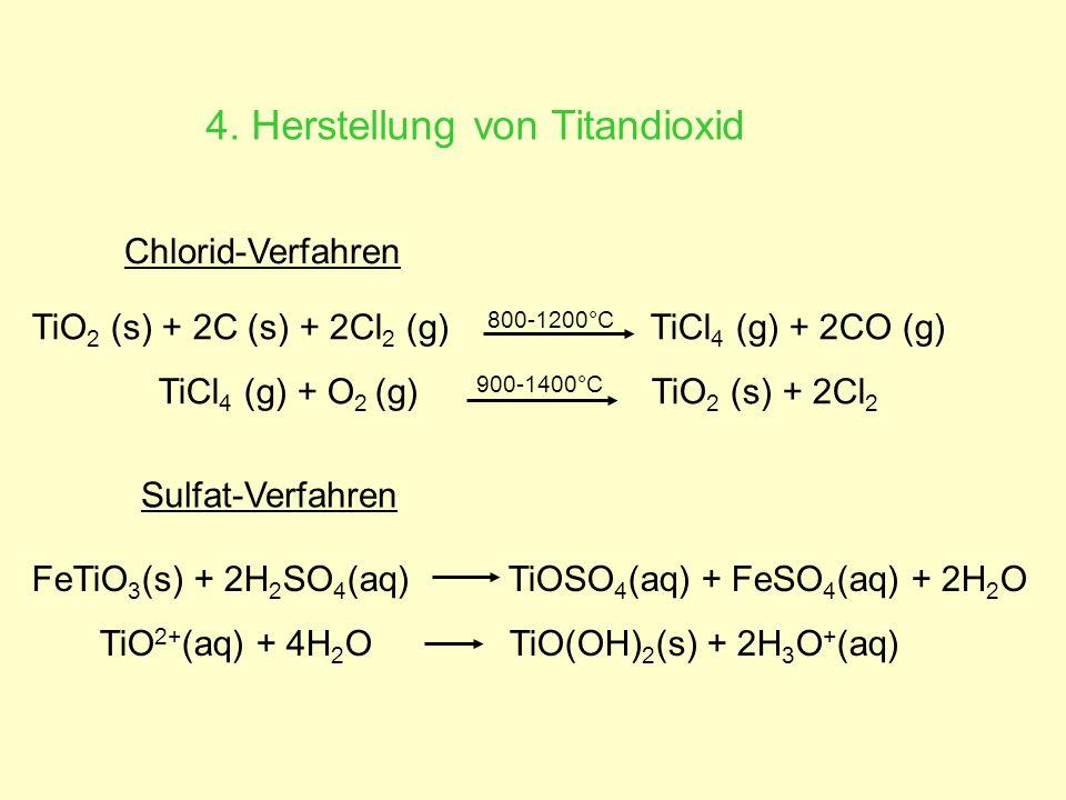 4. Herstellung von Titandioxid Chlorid-Verfahren TiO 2 (s) + 2C (s) + 2Cl 2 (g) 800-1200°C TiCl 4 (g) + 2CO (g) TiCl 4 (g) + O 2 (g) 900-1400°C TiO 2