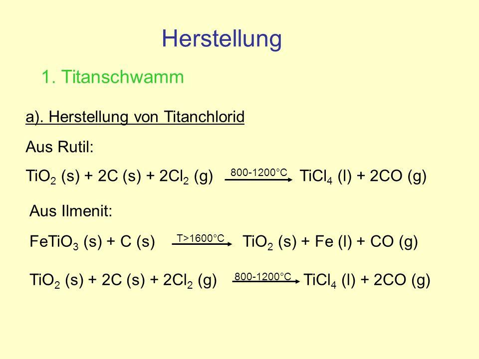 a). Herstellung von Titanchlorid Aus Rutil: TiO 2 (s) + 2C (s) + 2Cl 2 (g) 800-1200°C TiCl 4 (l) + 2CO (g) Aus Ilmenit: FeTiO 3 (s) + C (s) T>1600°C T