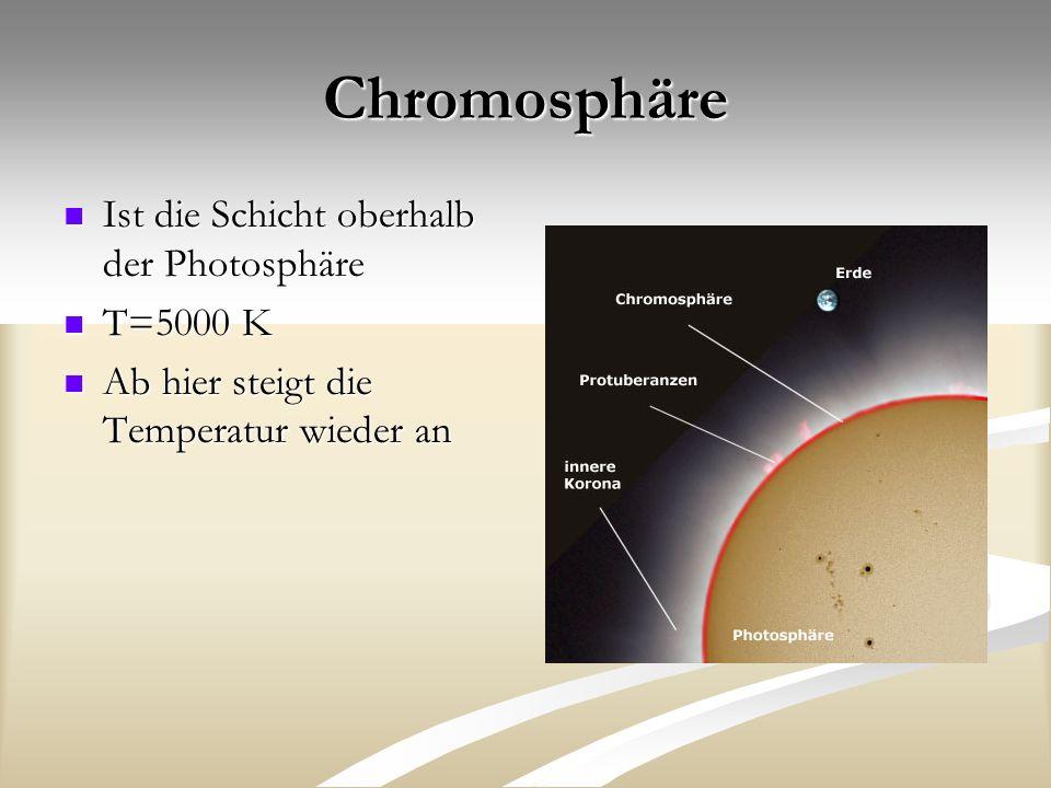 Chromosphäre Ist die Schicht oberhalb der Photosphäre Ist die Schicht oberhalb der Photosphäre T=5000 K T=5000 K Ab hier steigt die Temperatur wieder an Ab hier steigt die Temperatur wieder an