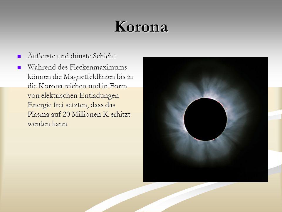 Korona Äußerste und dünste Schicht Äußerste und dünste Schicht Während des Fleckenmaximums können die Magnetfeldlinien bis in die Korona reichen und i