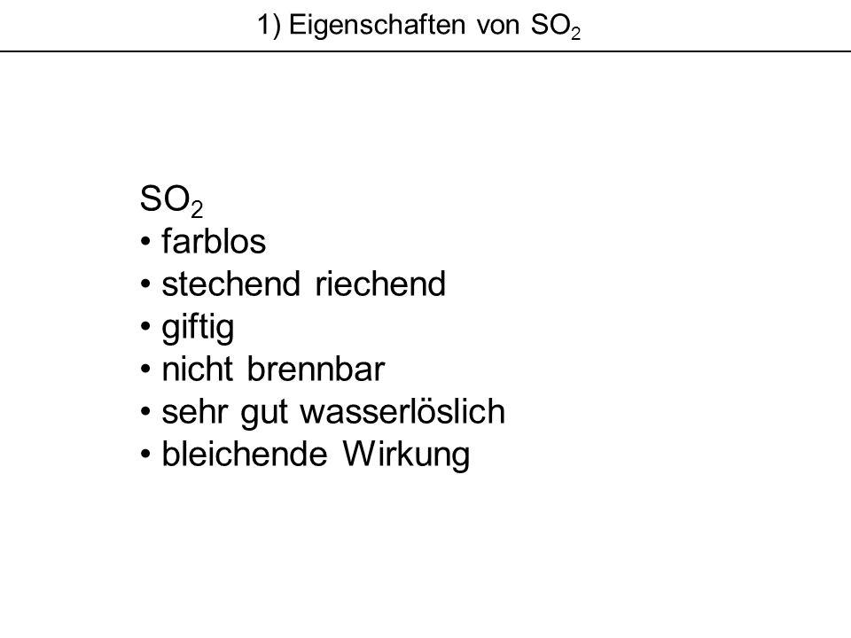 1) Eigenschaften von SO 2 SO 2 farblos stechend riechend giftig nicht brennbar sehr gut wasserlöslich bleichende Wirkung