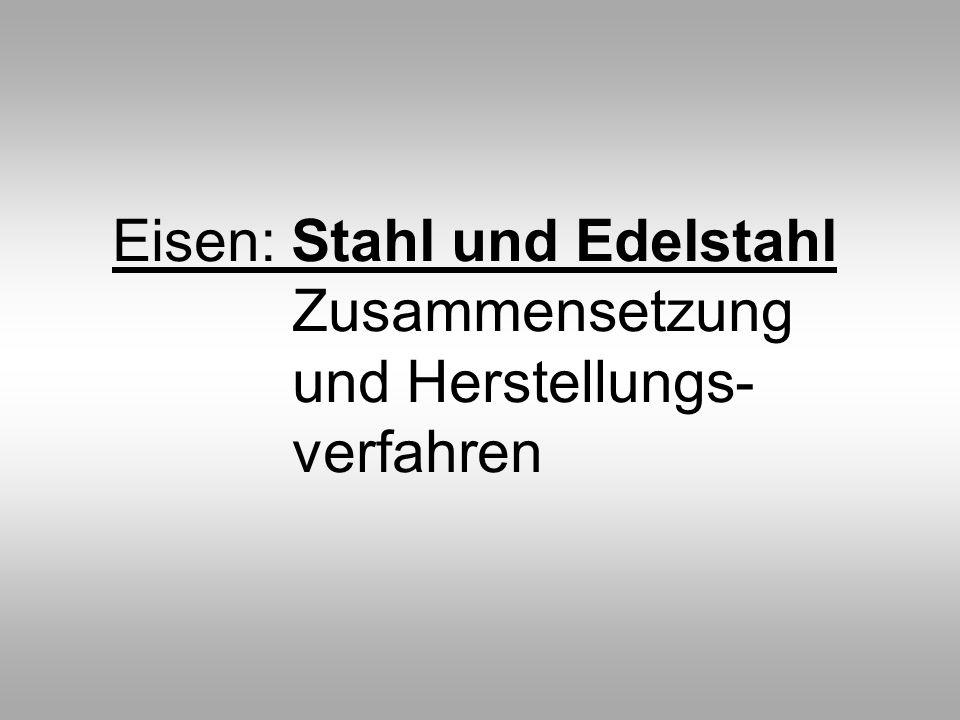 Eisen: Stahl und Edelstahl Zusammensetzung und Herstellungs- verfahren